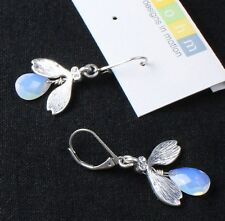 BOHM Silver Bee Fly Insect Swarovski Crystals White Opal Drops Earrings  BNWT
