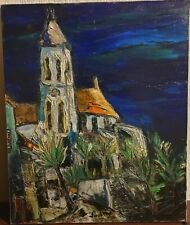 Old RARE French painting on canvas, large size: 61 x 50 cm 1930s stamped on back