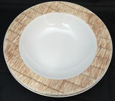 2 Guess Home Collection Tatami Stoneware Rimmed Soup Pasta Bowls Bamboo Design
