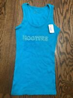 Hooters Restaurant Vintage Ribbed Bling Tank Top Women's Small NWT Blue Color