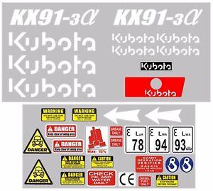 Decal Sticker set. KUBOTA KX91-3 Mini Digger Pelle Bagger Excavator