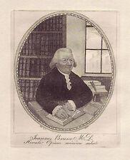 JOHN KAY Original Antique Etching. Dr. John Brown in his Study, 1791
