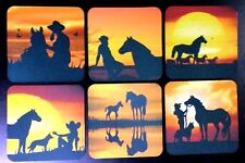 COWGIRLS/HORSE with SUNSETS -  6pkt of drink COASTERS ***PERFECT GIFT***