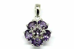 Pendant Purple Amethyst Genuine Natural Gems Solid Sterling Silver Flower Design