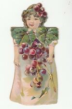 [64266] VINTAGE PAPER DOLL LITTLE GIRL COVERED IN GRAPES BARBOUR'S IRISH FLAX