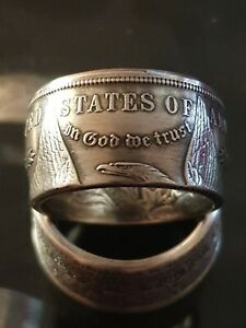 Coin Ring - Real Silver Dollar 1886 - Size T - Can resize.