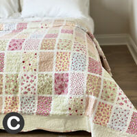 Luxury 100% Cotton Pink Cream Floral Patchwork Style Quilt Bed Throw Double King