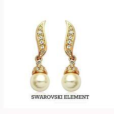 Boucles d'oreilles bouton pendants Swarovski® Elements perle plaqué or jaune