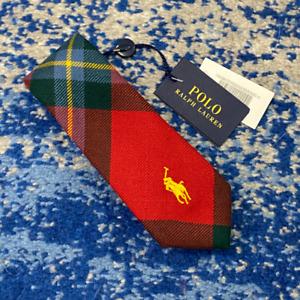 NEW Polo Ralph Lauren Boy Red Yellow Blue Green Bias Plaid Wool Necktie CURRENT