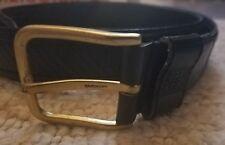 Mens Givenchy Monsieur Belt 34 Full Grain Cowhide Leather Black Solid Copper