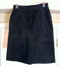 Womens Lined Black Suede Leather Mini Skirt Size 8 w/Kick Slit Lord & Taylor