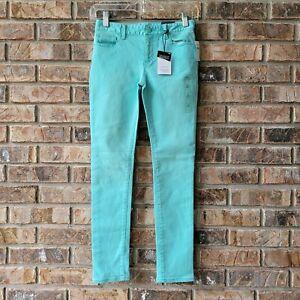Gap Kids Super Skinny High Stretch Denim Teal Blue Jeans Adjustable Waist 10 NEW