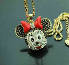 H624 Betsey Johnson crystal enamel bow-knot Mouse head Pendant Sweater Necklace