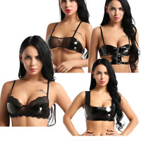 Women Wetlook Faux Leather Crop Top Zipper Tank Top Clubwear Shirt Bra Vest Rave