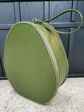 National Vtg AVOCADO PURSE Oval Teardrop Egg Train Case Bag FASHION Green 60s E4