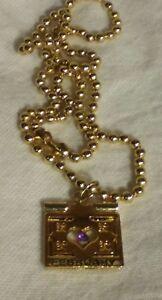 February Purple Birthstone Gold Heart Locket Necklace