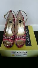 RIVER ISLAND ETHER MILLY SHOES SIZE 5 (38) ORANGE MULTI PLATFORM & GOLD STUDS