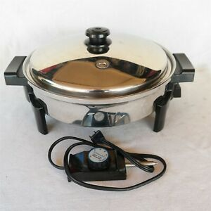 """Saladmaster 12"""" Electric Skillet Cooker 7256 Stainless Steel USA made Very Nice"""