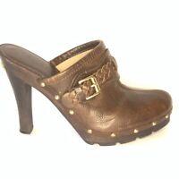 Michael Kors Womens Clog Block Heels Shoes Brown Leather Slip On Split Toe 8 M