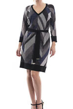 Joseph Ribkoff Sparkle Sweater Knit Chevron Dress Sz 8 (UK 10) New 173756