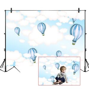 Hot Air Balloon Photography Backdrops Baby Birthday Party Clouds Backgrounds