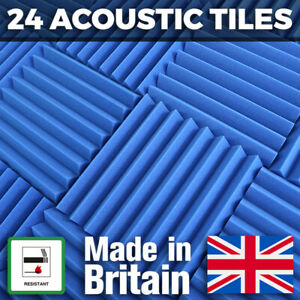 24 Blue Acoustic Foam Tiles Studio Sound Treatment Panels For Podcasts Streamers