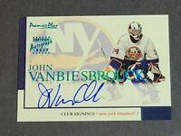 John VanBiesbrouck Auto New York Islanders 2000-01 Topps Premier Plus Signings