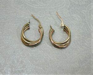 Stylish 9ct Three-Colour Gold Hoop Earrings - Thames Hospice
