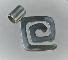 "Silpada Designer 1 3/4"" Sterling Silver Geometric Maze Swirl Pendant S0377"