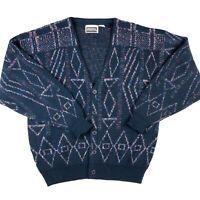 Vintage Vaporwave Cardigan Sweater Abstract Geometric Grandpa 80s 90s L Grunge