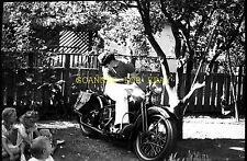 1950s Man On Old Harley? Motorcycle ORIGINAL Photo Negative