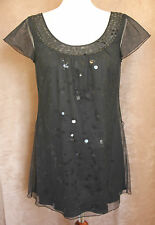 Short-sleeved Black Party Top with Black Shiny Discs - Size 10 - Per Una