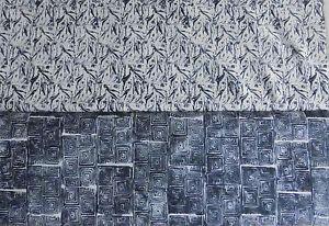 Patchworkstoff (€20/m²)  0,3 m Woodcuts Holzschnitte Holzdrucke 1,1m breit