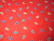 Red Nautical Boat Anchor Cotton Fabric Crafts Sewing