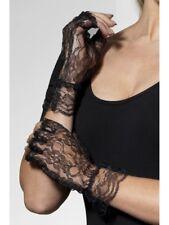 DONNA ANNI 80 Madonna pizzo nero costume Gothic Senza Dita Corto Guanti