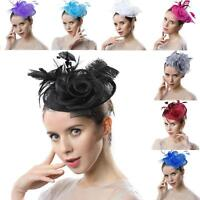 Women Vintage Kentucky Derby Party Church Sinamay Fascinator Hair Clip Small Hat