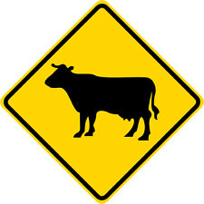 3M EGP Reflective COW CATTLE CROSSING SYMBOL Road Warning Sign 24 x 24