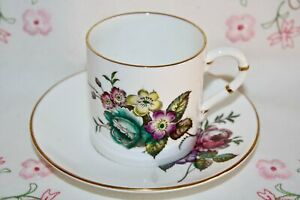 Superb 1940 Royal Worcester English Fine China Coffee Cup Saucer Posy Z2621
