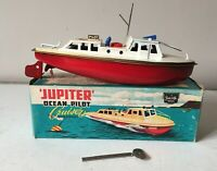 SUTCLIFFE TINPLATE JUPITER OCEAN PILOT CRUISER CLOCKWORK BOAT 1960s KEY & BOX