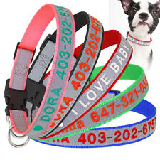 Name Phone Embroidered Dog ID Collar Personalised Custom Reflective Nylon Collar