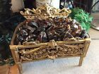 Antique Victorian Style Brass and Cast Iron Fire Place Insert Glass Coal Basket