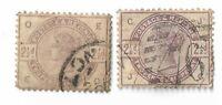 UK Queen Victoria 2½d purple/violet postage stamps 1883-1884 x 2