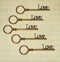 5 Large Gold LOVE Skeleton Keys Antique Vtg Old Look Fancy Wedding Favor Word