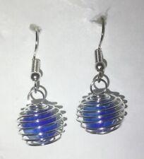 Drop Earrings Caged Blue Bead
