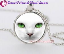 White Cat and Green Eye Glass silver necklace for women men Jewelry