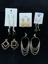 Lot of 5 Gorgeous Gold Tone Earrings, Sun Stars and Pearls Studded Drop Earrings