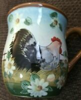 Susan Winget Mug with Country Chicken & Daisies 16 oz  Coffee Cup Cracker Barrel