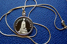 "CANADIAN PROOF 1994 Loonie Bezel Pendant on a 24"" Gold Filled Snake Chain"