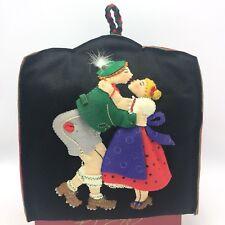 Vintage Teapot Cozy Cover Felt Applique German Couple Lederhosen Petticoats Kiss