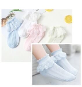 Baby Girls Socks Soft Breathable Cotton Rich Cute Lace Socks